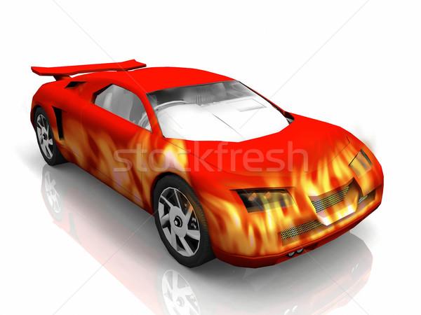 Stok fotoğraf: Test · araba · kırmızı · Alevler · sokak · dizayn