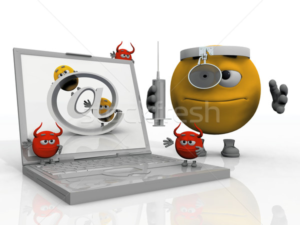 Emoticon vírus infectado computador símbolo Foto stock © njaj