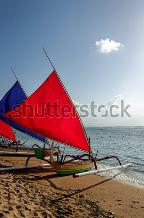 Pescador barco bali playa peces sol Foto stock © njaj