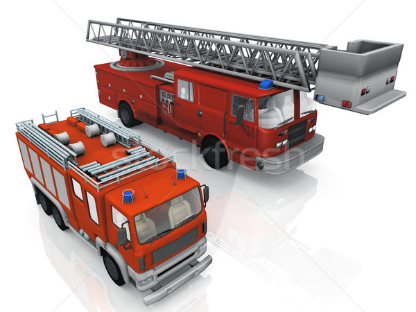 fire trucks on a white background Stock photo © njaj