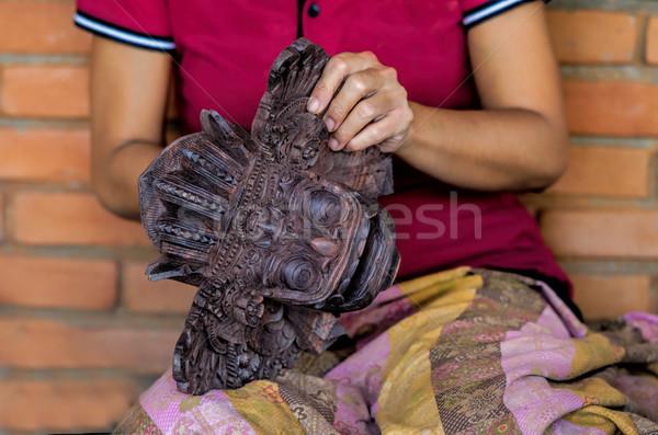 Sculpteur masque bali femme femmes culture Photo stock © njaj