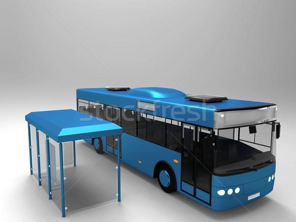 Otobüs otobüs durağı şehir sokak Metal bilgi Stok fotoğraf © njaj