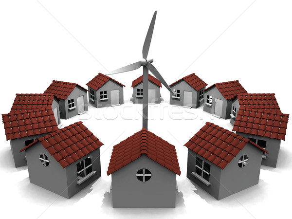 house  in circles and windmill Stock photo © njaj