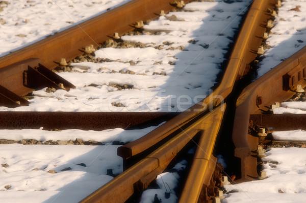 the rusty rails in the snow Stock photo © njaj