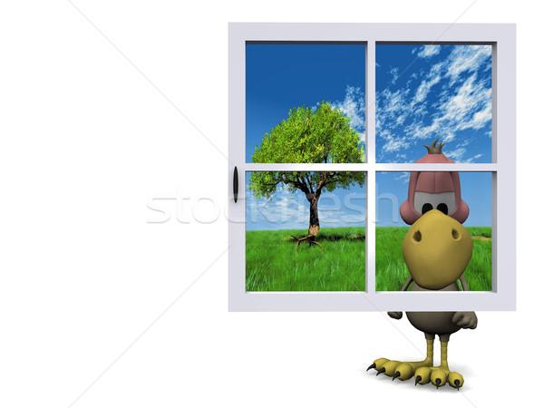 гриф за синий окна счастливым моде Сток-фото © njaj