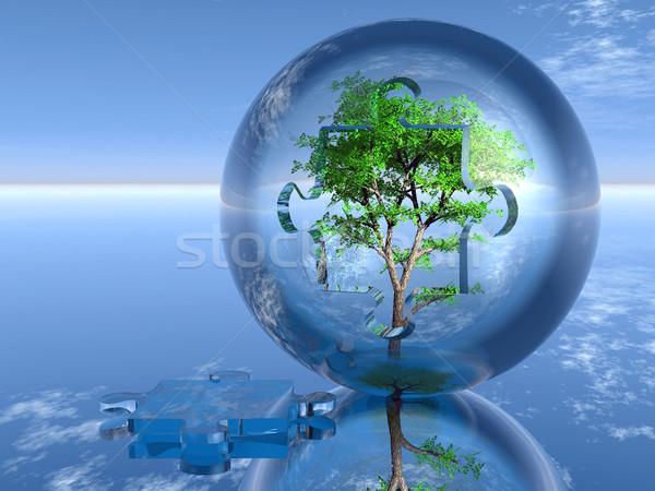 Baum Puzzle Blase Natur Anlage Spiel Stock foto © njaj