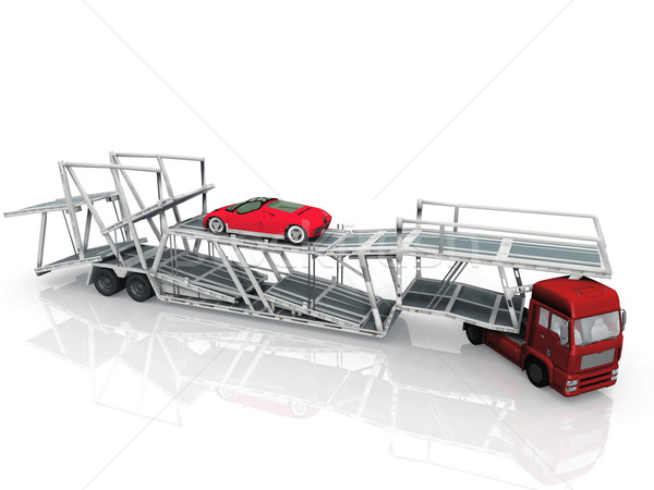 Car  transport truck on white background Stock photo © njaj
