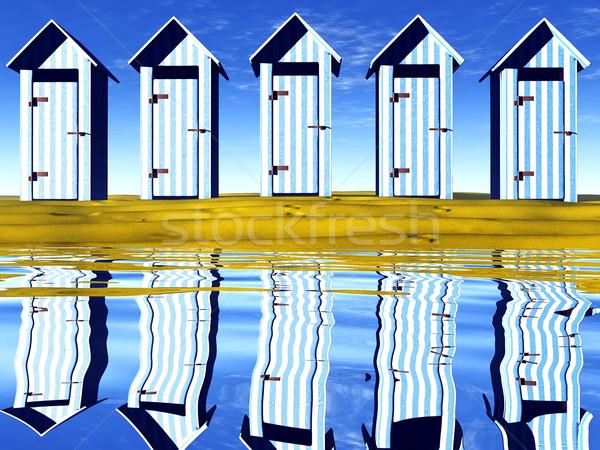 Plage maison soleil paysage mer océan Photo stock © njaj