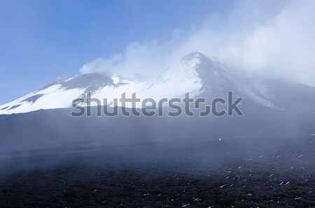 Vulkaan hemel sneeuw berg veld reizen Stockfoto © njaj