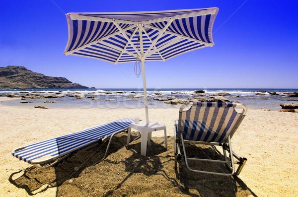 Tengerparti homok tenger víz nap nyár kék Stock fotó © njaj