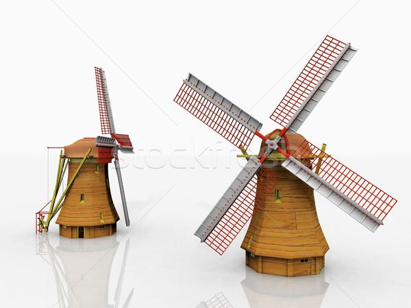 Windmill два белый небе зеленый энергии Сток-фото © njaj