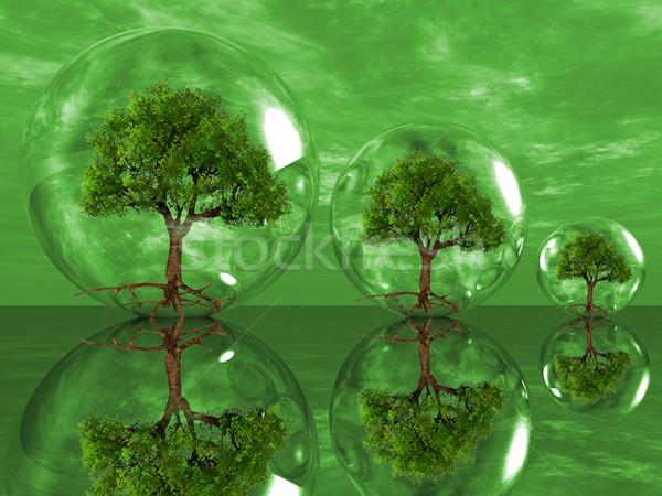 деревья пузырьки зеленый дизайна облаке завода Сток-фото © njaj