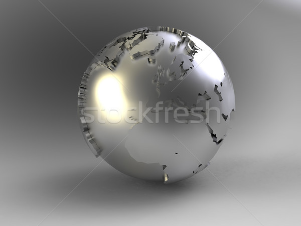 Stock photo: the earth on a gray background