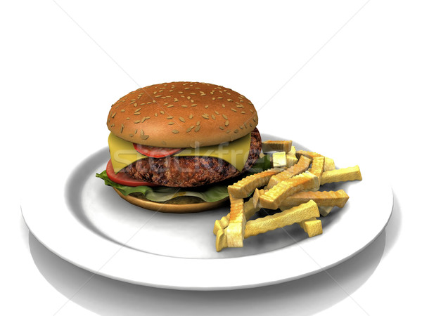 Hamburger frites plaque viande sandwich tomate Photo stock © njaj