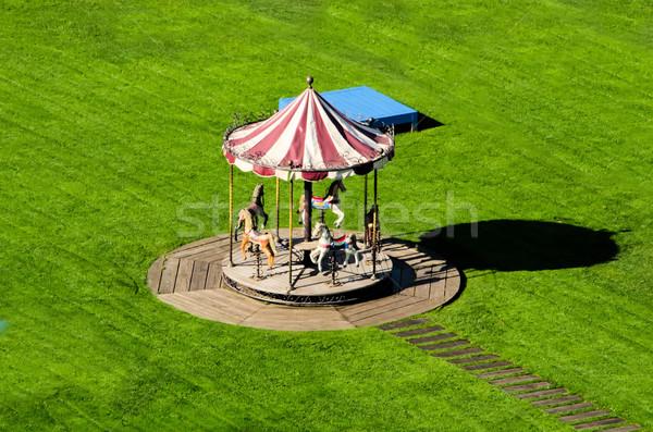 Carrousel groene weide kind snelheid park Stockfoto © njaj