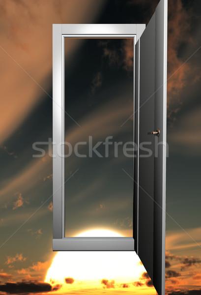 the door open on a sunset Stock photo © njaj