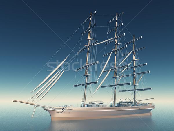 Zeilschip zee Blauw reizen boot schip Stockfoto © njaj
