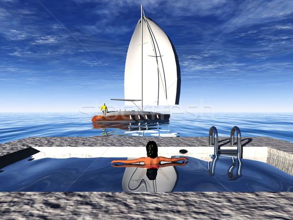 Piscine voile bateau Photo stock © njaj