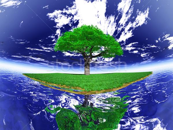 the green tree on an island Stock photo © njaj