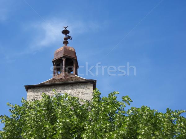 the  church tower above the  trees Stock photo © njaj