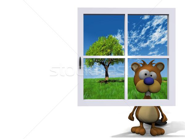 Kunduz arkasında mavi pencere mutlu moda Stok fotoğraf © njaj