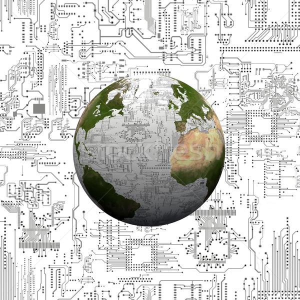 the earth and the electronic circuits Stock photo © njaj