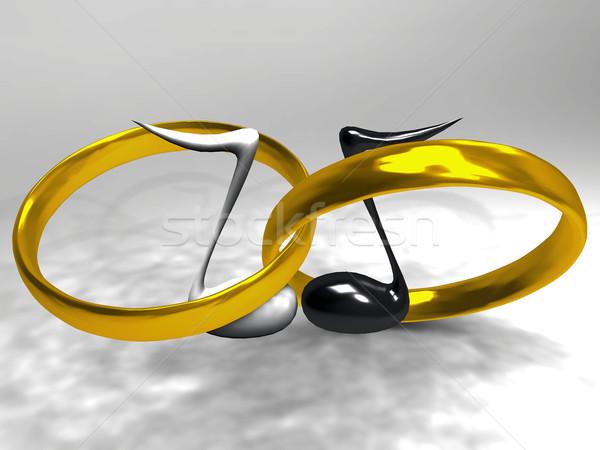 Gyűrűk arany hangjegyek zene esküvő szeretet Stock fotó © njaj