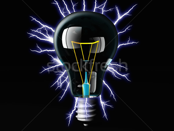 Stock photo: incandescent light bulb and electric arc