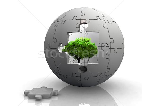 ストックフォト: 緑の木 · パズル · バブル · 自然 · 緑 · 再生