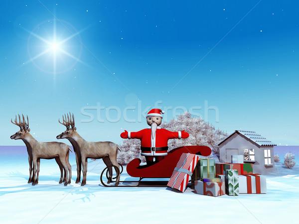 Stok fotoğraf: Noel · baba · gece · siluet · hediye · geyik