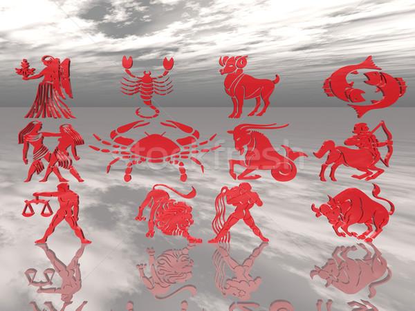 Сток-фото: зодиак · признаков · рыбы · знак · лев · магия