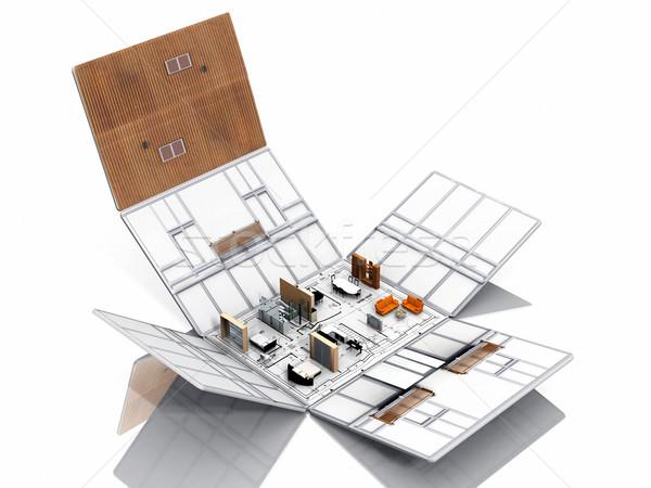 Folding of house with furniture Stock photo © njaj