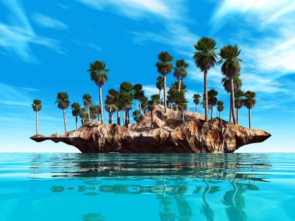 ストックフォト: 島 · 海 · 建設 · 自然 · 夏 · 青