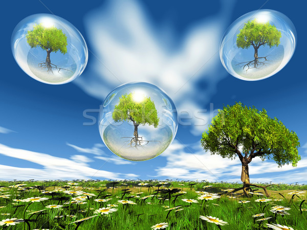Stock photo: trees in bubbles