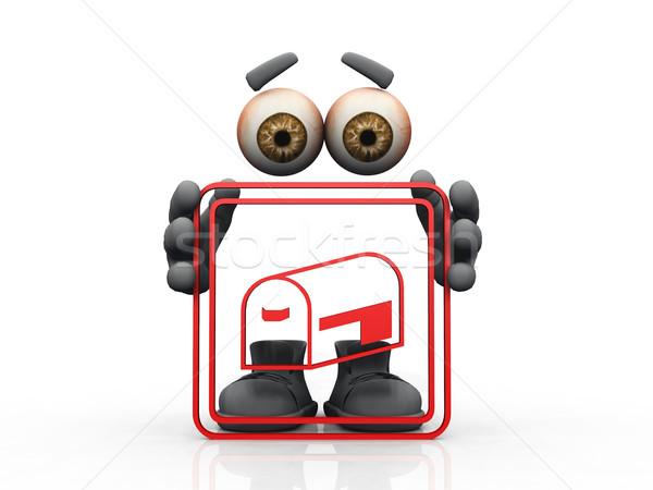 Boîte aux lettres logo invisible homme main yeux Photo stock © njaj