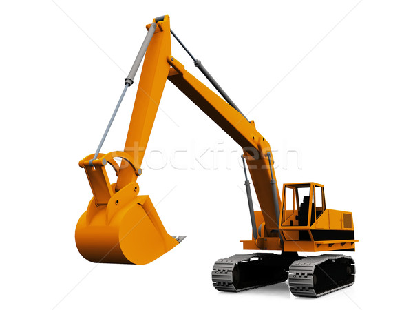 mechanical  excavator on a white background Stock photo © njaj