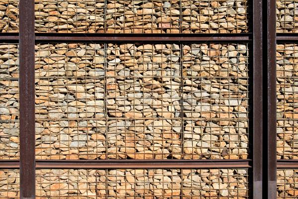 Muro di pietra acciaio design pietra architettura ferro Foto d'archivio © njaj