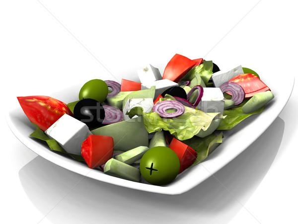 Mixte salade blanche fond vert poivre Photo stock © njaj