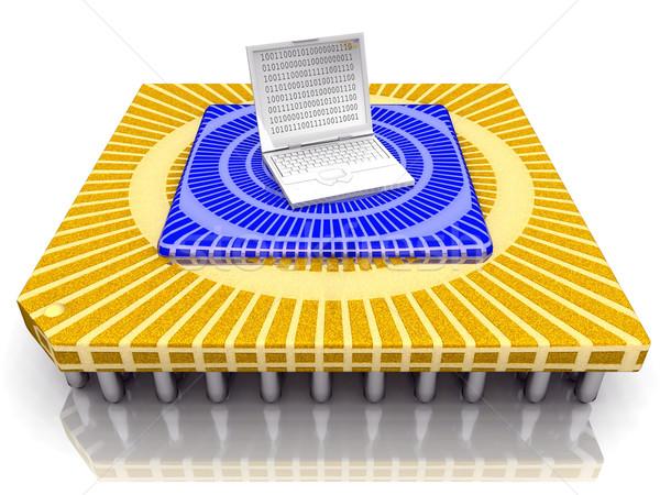 Open laptop on huge computer chips Stock photo © njaj
