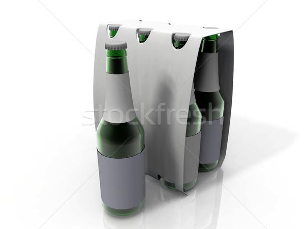 Bier pack zes flessen groene fles Stockfoto © njaj