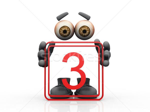 three symbol on a white background  Stock photo © njaj