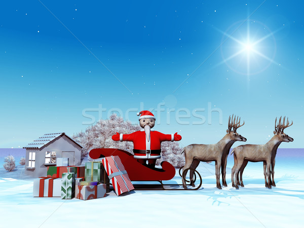 Дед Мороз сани снега силуэта подарок оленей Сток-фото © njaj