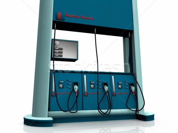 Stacja benzynowa biały działalności samochodu oleju energii Zdjęcia stock © njaj