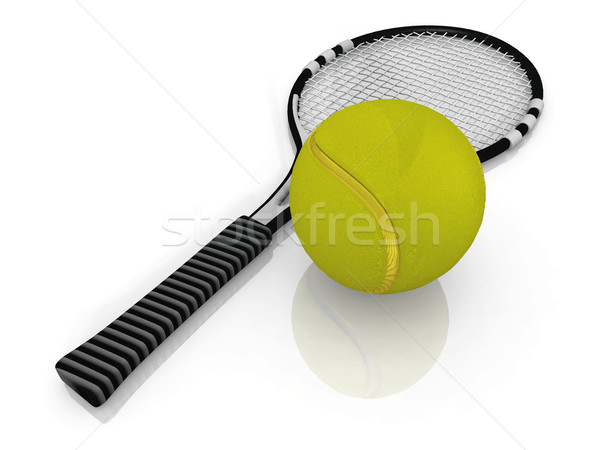 the racket and tennis ball Stock photo © njaj
