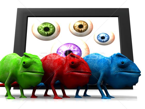 Kameleon televisie ogen natuur reizen witte Stockfoto © njaj