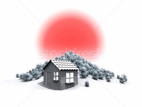 хижина пейзаж снега солнце дома красоту Сток-фото © njaj