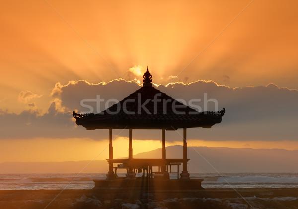 Pôr do sol bali praia sol natureza mar Foto stock © njaj