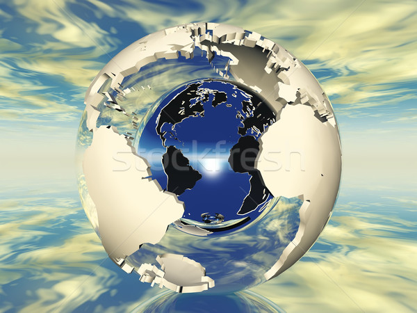 Föld üreges fém labda égbolt földgömb Stock fotó © njaj