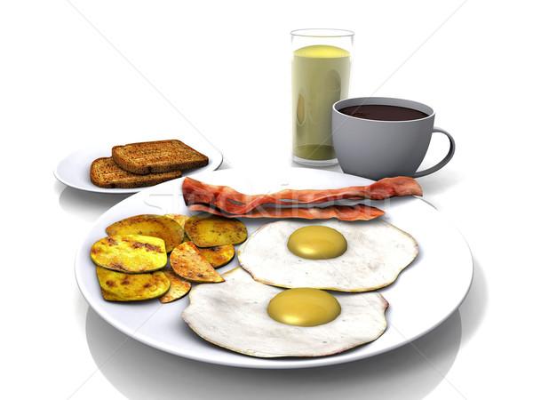 egg  with bacon and coffee Stock photo © njaj
