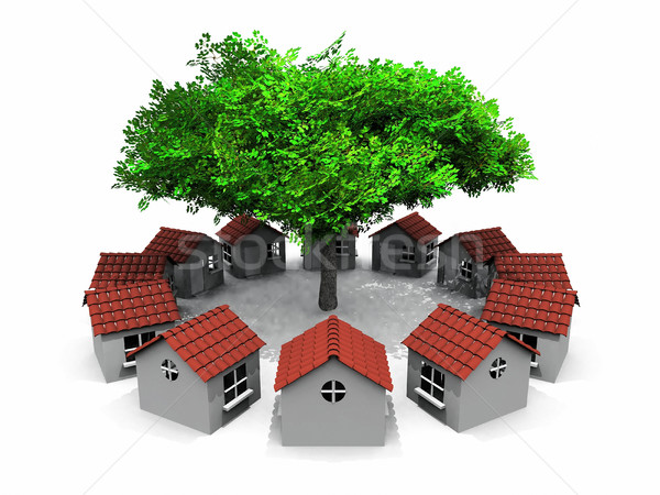 small houses in circles and tree Stock photo © njaj